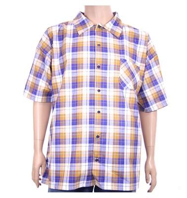 Košile AFLG krátký rukáv - modrohnědé káro