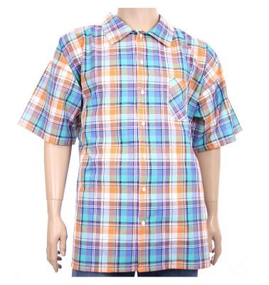 Košile AFLG krátký rukáv - modrooranžové káro