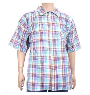 Košile AFLG krátký rukáv - světlehnědá káro