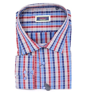 Košile TONELLI dlouhý rukáv  - barevná kostička