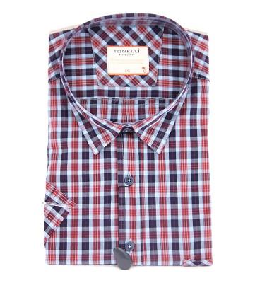 Košile TONELLI krátký rukáv - červenomodrá kostka